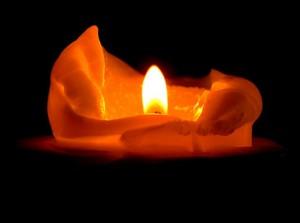 Wax candle flame