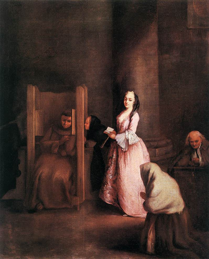 """The confession"" by Pietro Longhi, ca. 1750"